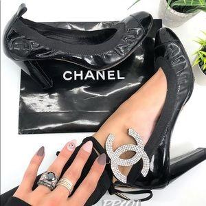 Chanel Elastic Ballet Cap Toe Pumps Patent Black